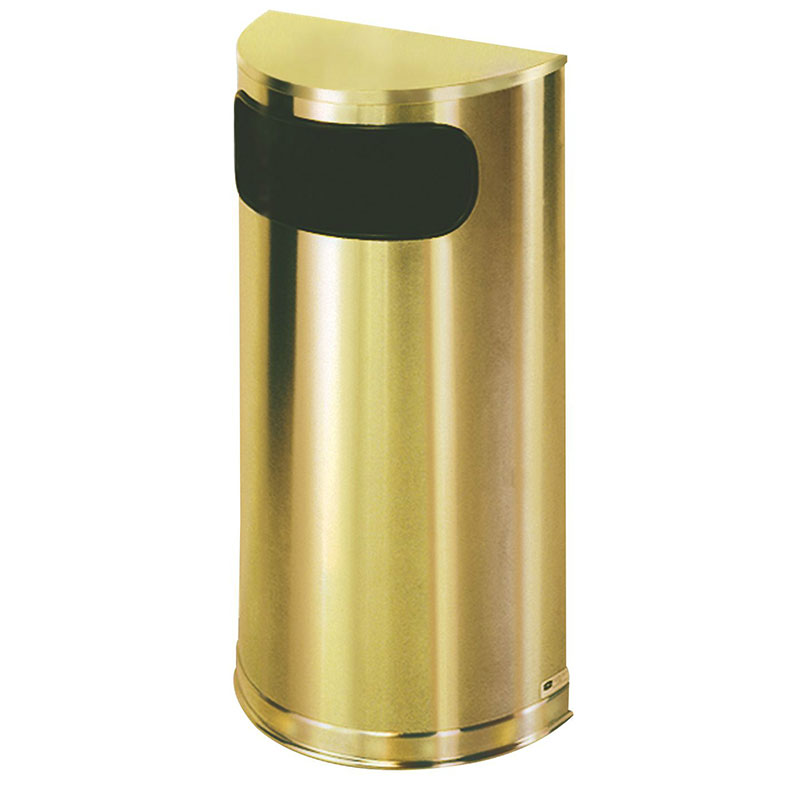 Rubbermaid FGSO8SBSPL 9-gal Indoor Decorative Trash Can - Metal, Satin Brass