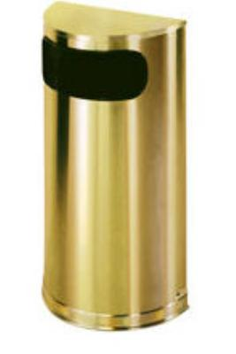 Rubbermaid FGSO8SBSPL 9-gal European Half-Round Indoor Receptacle - Plastic Liner, Satin Brass Stainless