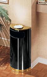 Rubbermaid FGSO8SU10PLBK 9-gal European Half-Round Ash/Trash Receptacle - Plastic Liner, Black/Brass
