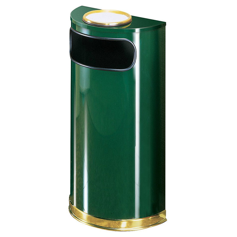 Rubbermaid FGSO8SU10PLEGN 9-gal European Half-Round Ash/Trash Receptacle - Plastic Liner, Empire Green/Brass