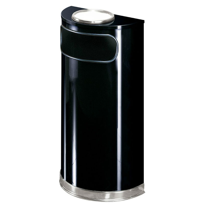 Rubbermaid FGSO8SU20PLBK 9-gal European Half-Round Ash/Trash Receptacle - Plastic Liner, Black/Chrome