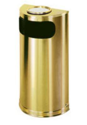 Rubbermaid FGSO8SUSBSPL 9-gal European Half-Round Ash/Trash Receptacle - Plastic Liner, Brass Stainless