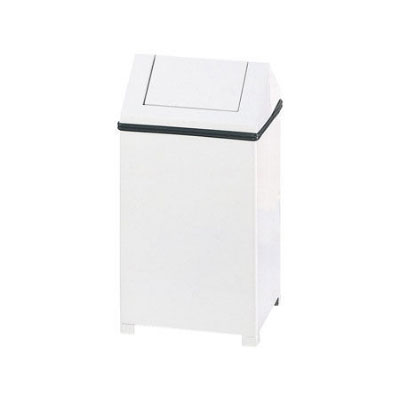 Rubbermaid FGT1414EPLWH 10-1/2-gal Wastemaster Square Receptacle - Hinged Top, Plastic Liner, White