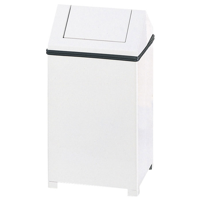 Rubbermaid FGT1414ERBWH 14-gal Wastemaster Square Receptacle - Hinged Top, Plastic Liner, White