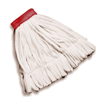 "Rubbermaid FGT25500WH00 Medium Rough Wet Mop Head - Looped End, 5"" Headband, Cotton/Polyester, White"