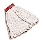"Rubbermaid FGT25600WH00 Large Rough Wet Mop Head - Looped End, 5"" Headband, Cotton/Polyester, White"