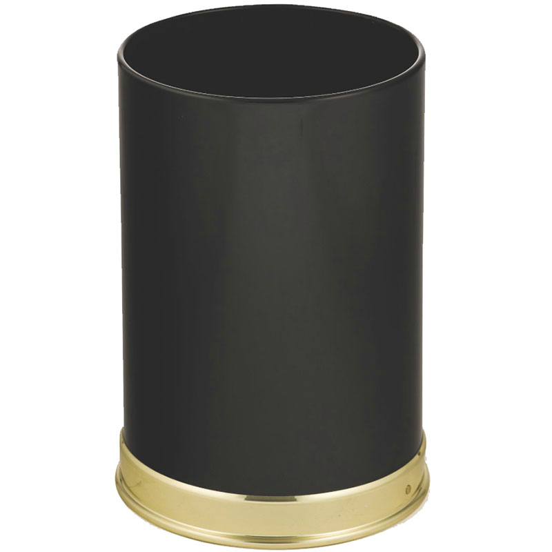 Rubbermaid FGUB190010BK 5-qt Round Waste Basket - Metal, Black/Brass