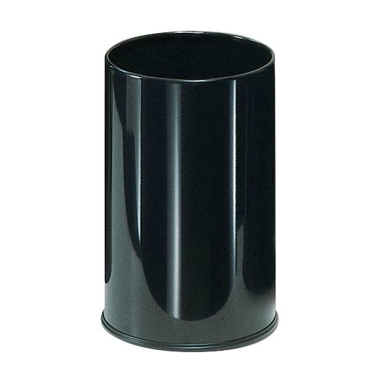 Rubbermaid FGUB1900EBK 5-gal European Executive Round Wastebasket - Open Top, Black