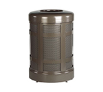 Rubbermaid FGA38TABZPL 38-gal Architek Waste Receptacle - Hinged Open Top, Bronze/Sand