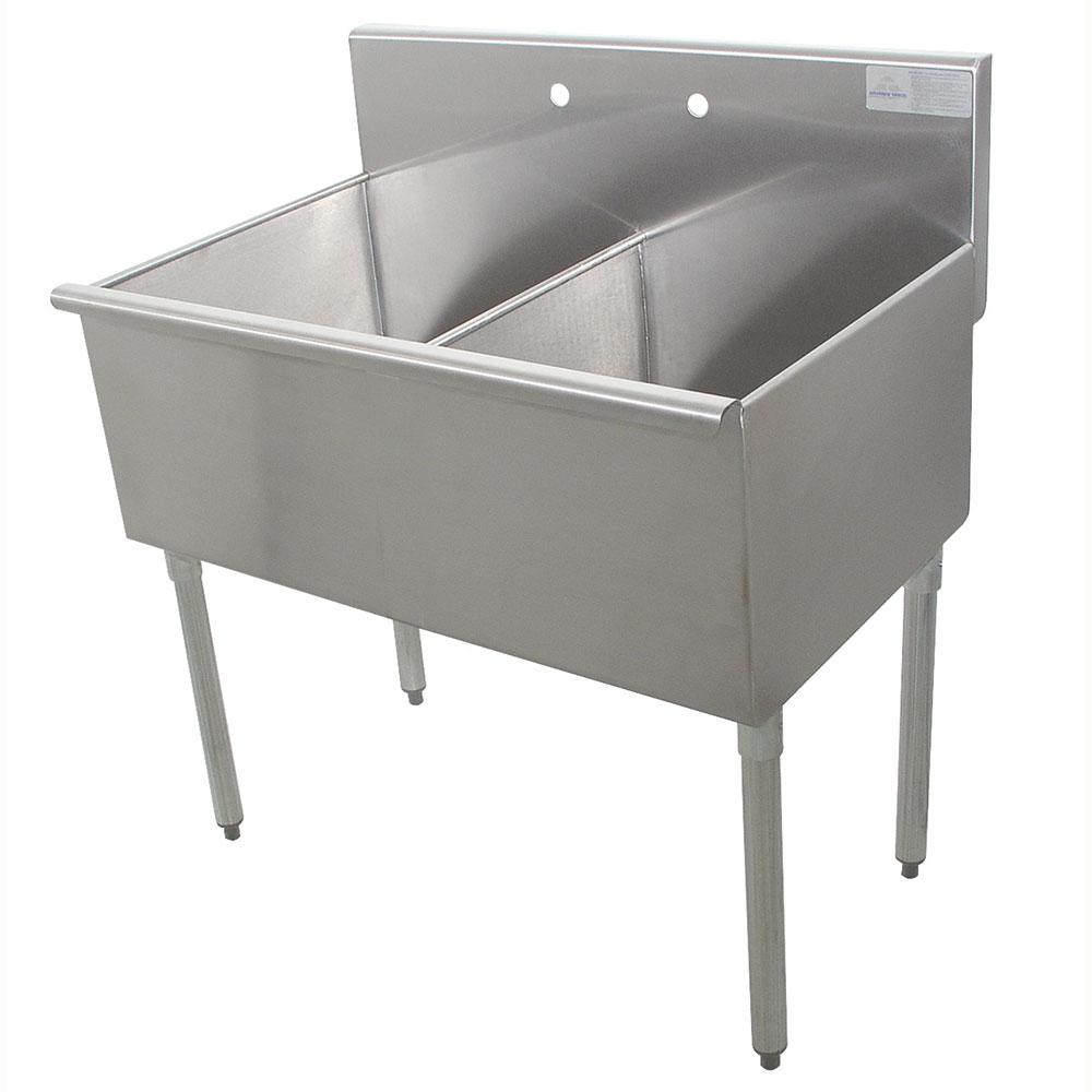 """Advance Tabco 4-2-36 36"""" 2-Compartment Sink w/ 18""""L x 21""""W Bowl, 14"""" Deep"""