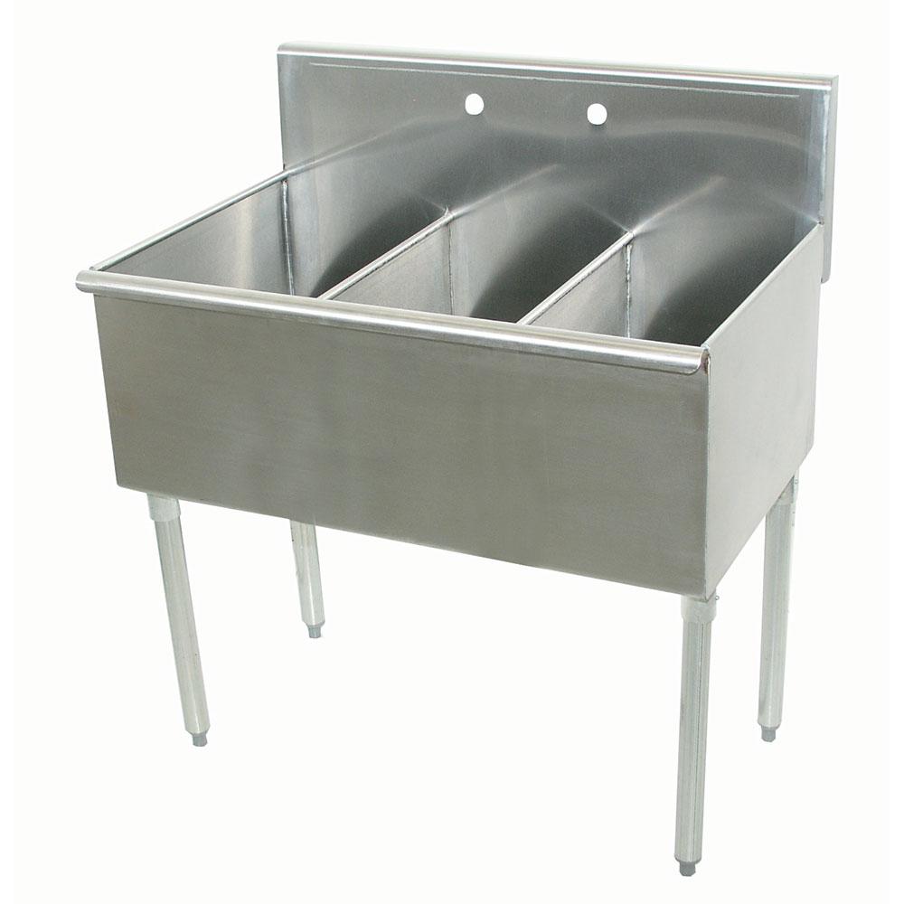 """Advance Tabco 6-3-48 48"""" 3-Compartment Sink w/ 16""""L x 21""""W Bowl, 14"""" Deep"""