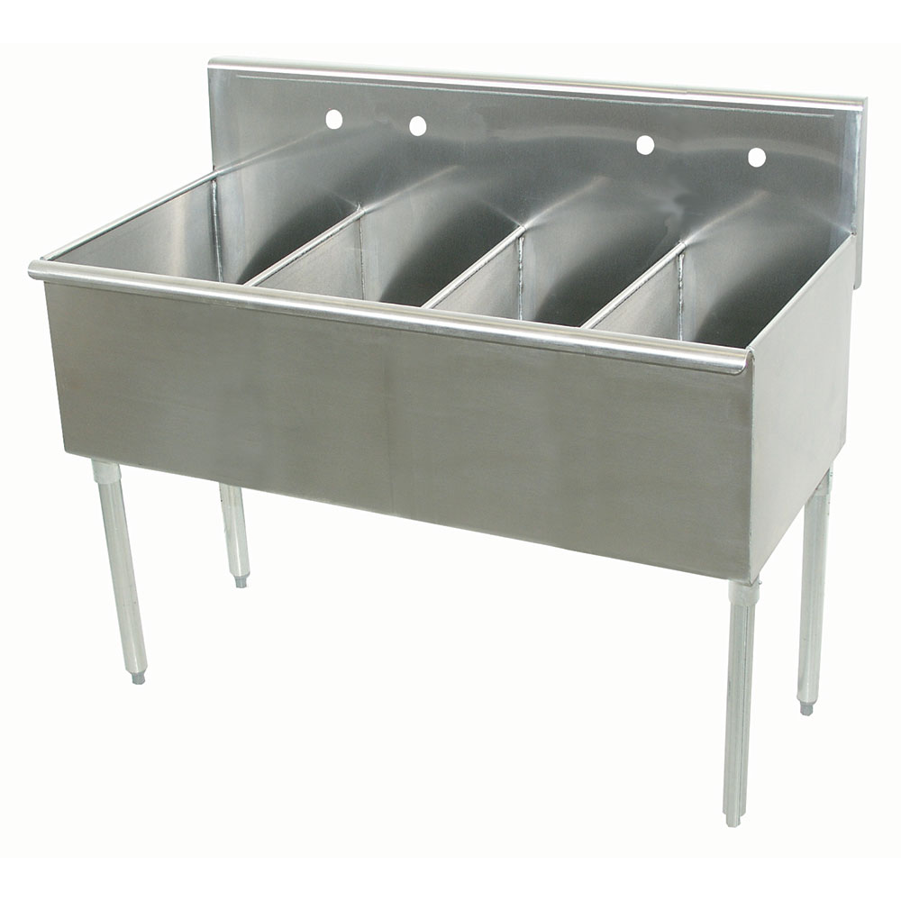 """Advance Tabco 6-4-48 48"""" 4-Compartment Sink w/ 12""""L x 21""""W Bowl, 14"""" Deep"""