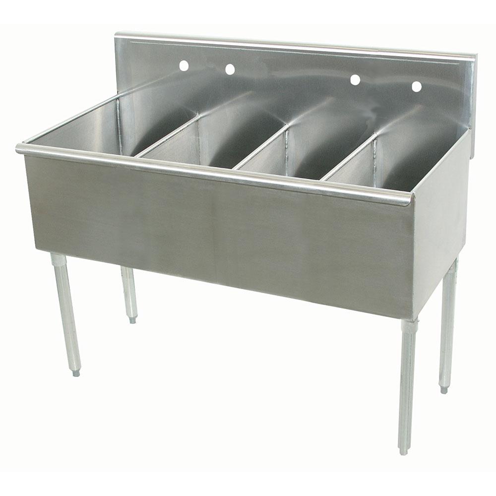 """Advance Tabco 6-4-60 60"""" 4-Compartment Sink w/ 15""""L x 21""""W Bowl, 14"""" Deep"""