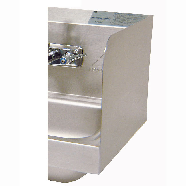 "Advance Tabco 7-PS-16B 7.75"" Tall Welded Side Splash for Hand Sinks - 10x14"" Bowl, Deck Mount"