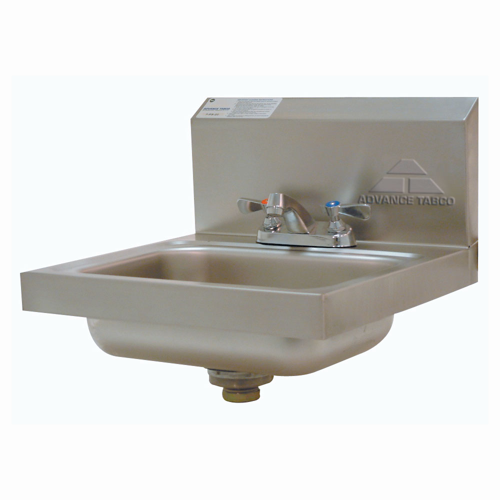 "Advance Tabco 7-PS-20 Wall Mount Commercial Hand Sink w/ 14""L x 10""W x 5""D Bowl, Basket Drain"