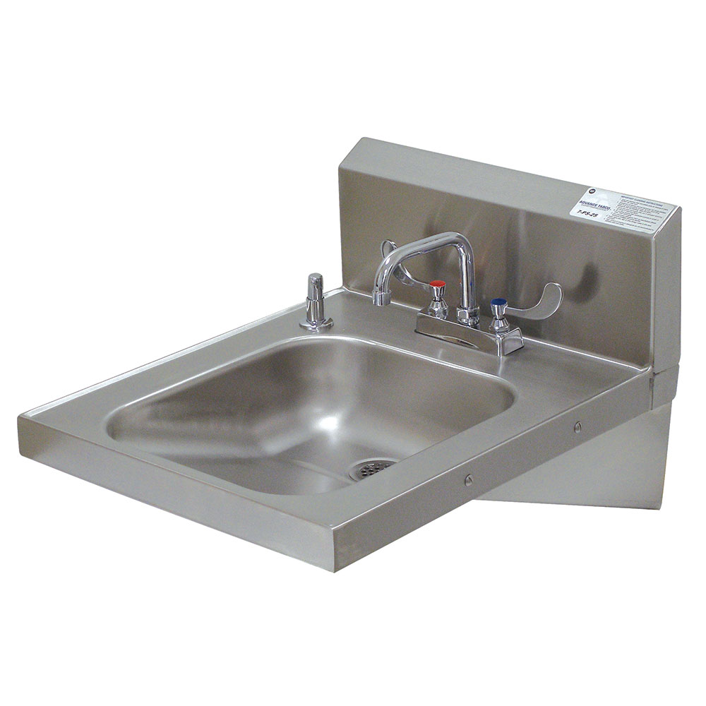 "Advance Tabco 7PS25 Wall Mount Commercial Hand Sink w/ 14""L x 16""W x 5""D Bowl, ADA Compliant"
