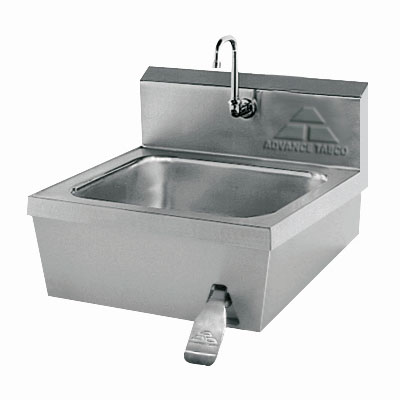"Advance Tabco 7-PS-30 Wall Mount Commercial Hand Sink w/ 14""L x 16""W x 6""D Bowl, Gooseneck Faucet"
