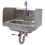 "Advance Tabco 7-PS-40 Wall Mount Commercial Hand Sink w/ 14""L x 10""W x 5""D Bowl, Side Splashes"