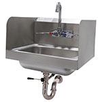 "Advance Tabco 7-PS-40 Wall Hand Sink - 14x10x5"" Bowl, Splash Mount Faucet, Side Splash, Lever Drain"
