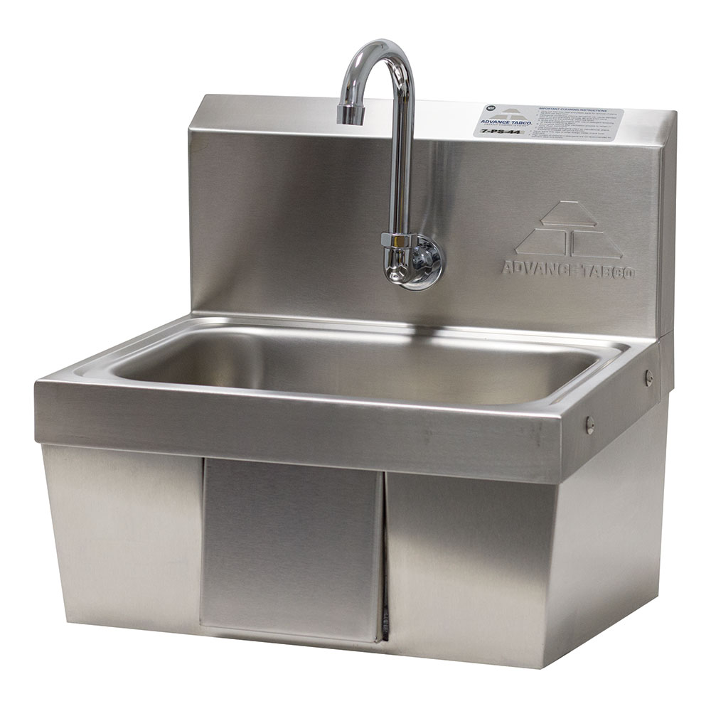 "Advance Tabco 7-PS-44 Wall Mount Commercial Hand Sink w/ 14""L x 10""W x 5""D Bowl, Gooseneck Faucet"