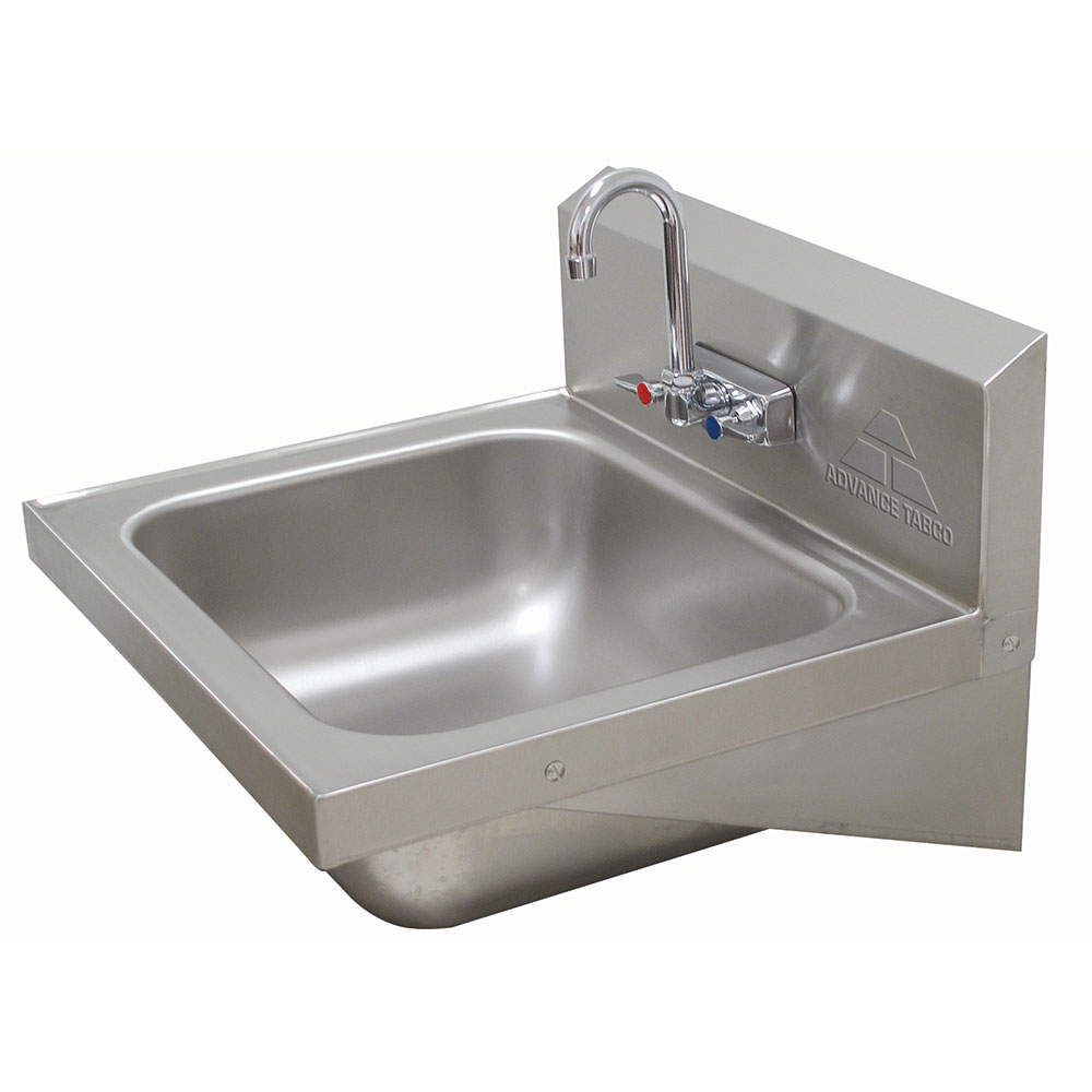 "Advance Tabco 7PS49 Wall Mount Commercial Hand Sink w/ 16""L x 14""W x 5""D Bowl, Basket Drain"