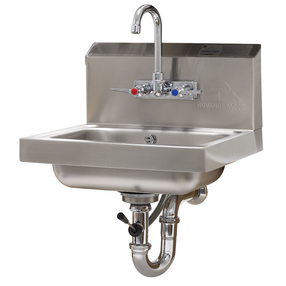 "Advance Tabco 7-PS-50 Wall Mount Commercial Hand Sink w/ 14""L x 10""W x 5""D Bowl, Standard Faucet"