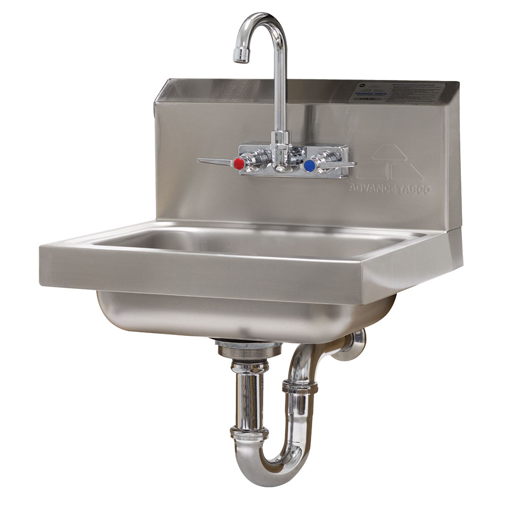 "Advance Tabco 7-PS-54 Wall Mount Commercial Hand Sink w/ 14""L x 10""W x 5""D Bowl, Standard Faucet"
