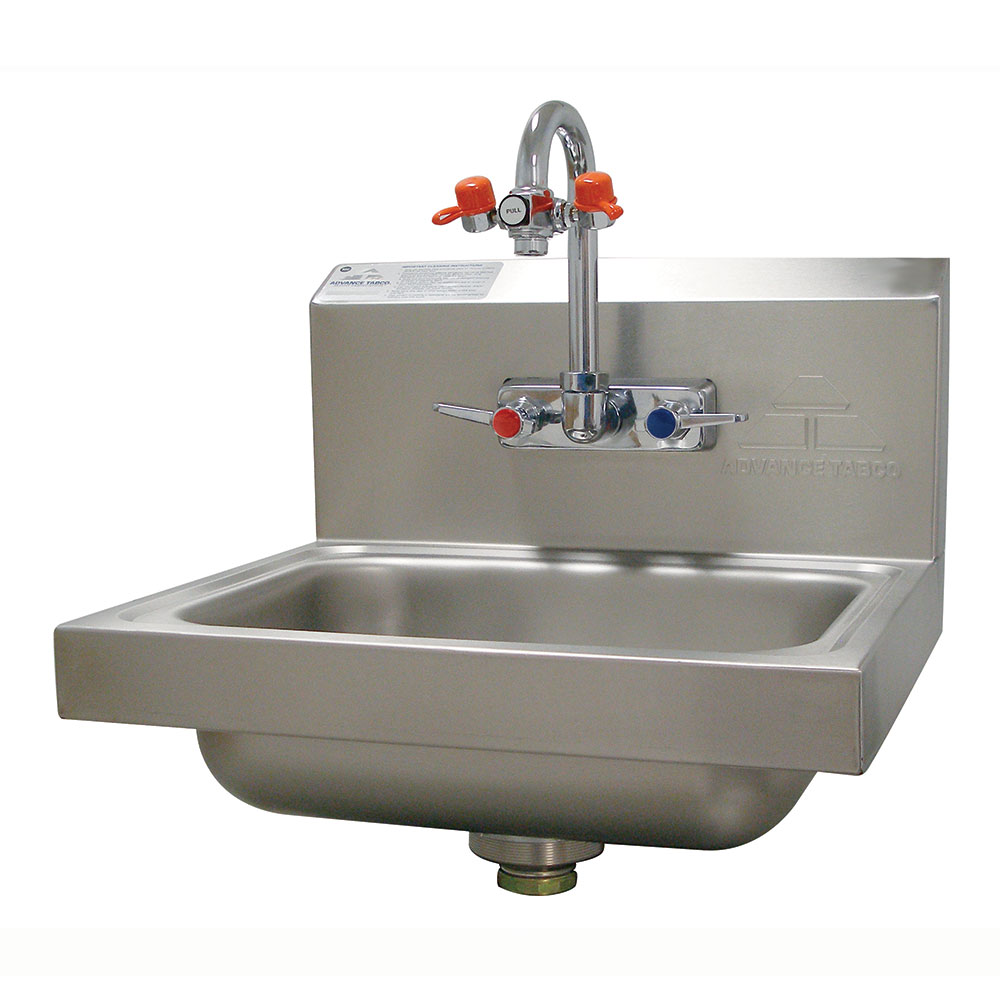 "Advance Tabco 7-PS-55 Wall Mount Commercial Hand Sink w/ 14""L x 10""W x 5""D Bowl, Gooseneck Faucet"