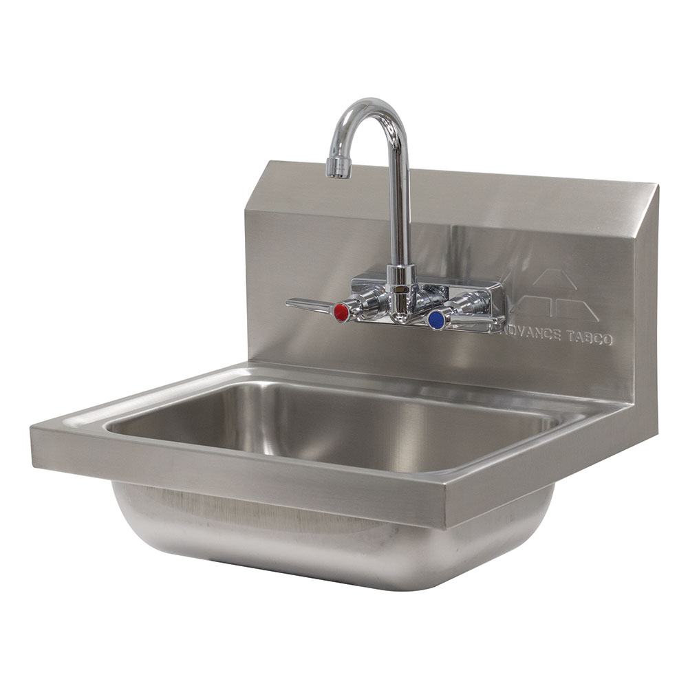 "Advance Tabco 7-PS-60 Wall Mount Commercial Hand Sink w/ 14""L x 10""W x 5""D Bowl, Basket Drain"