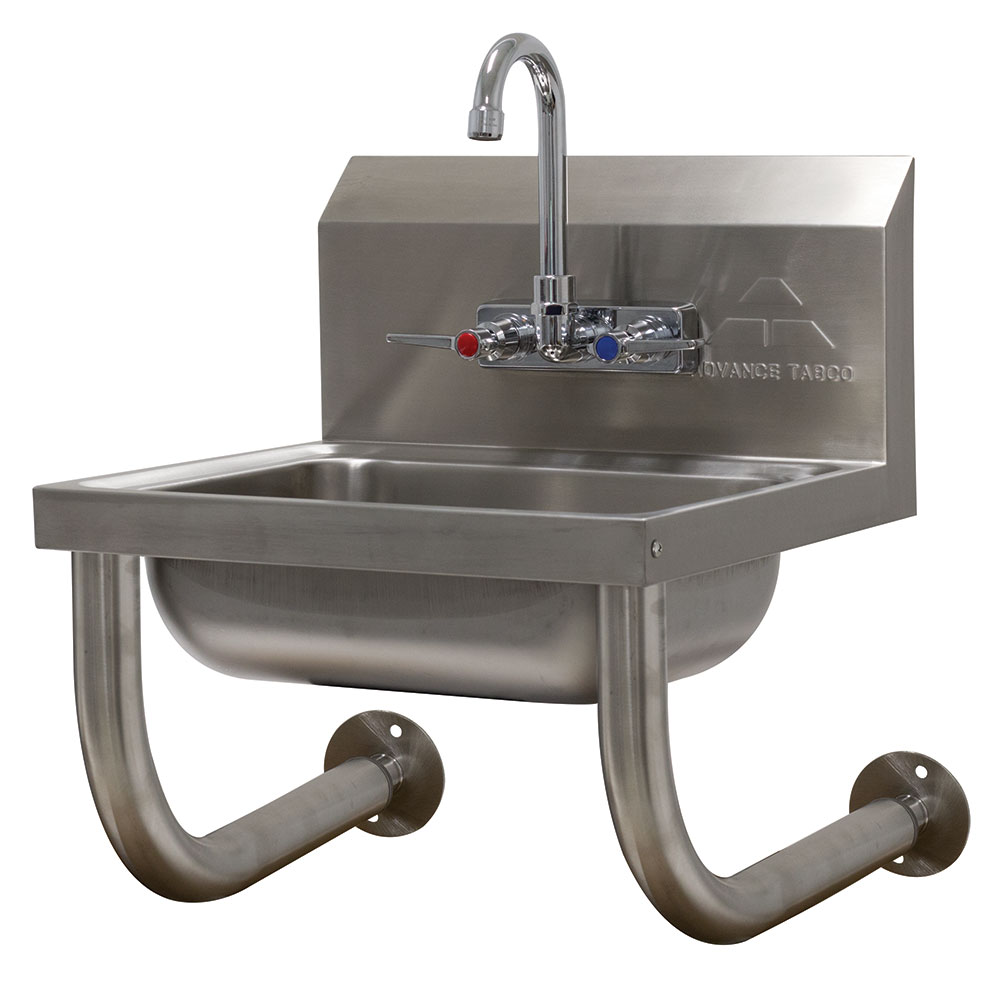 "Advance Tabco 7-PS-64 Wall Mount Commercial Hand Sink w/ 14""L x 10""W x 5""D Bowl, Gooseneck Faucet"