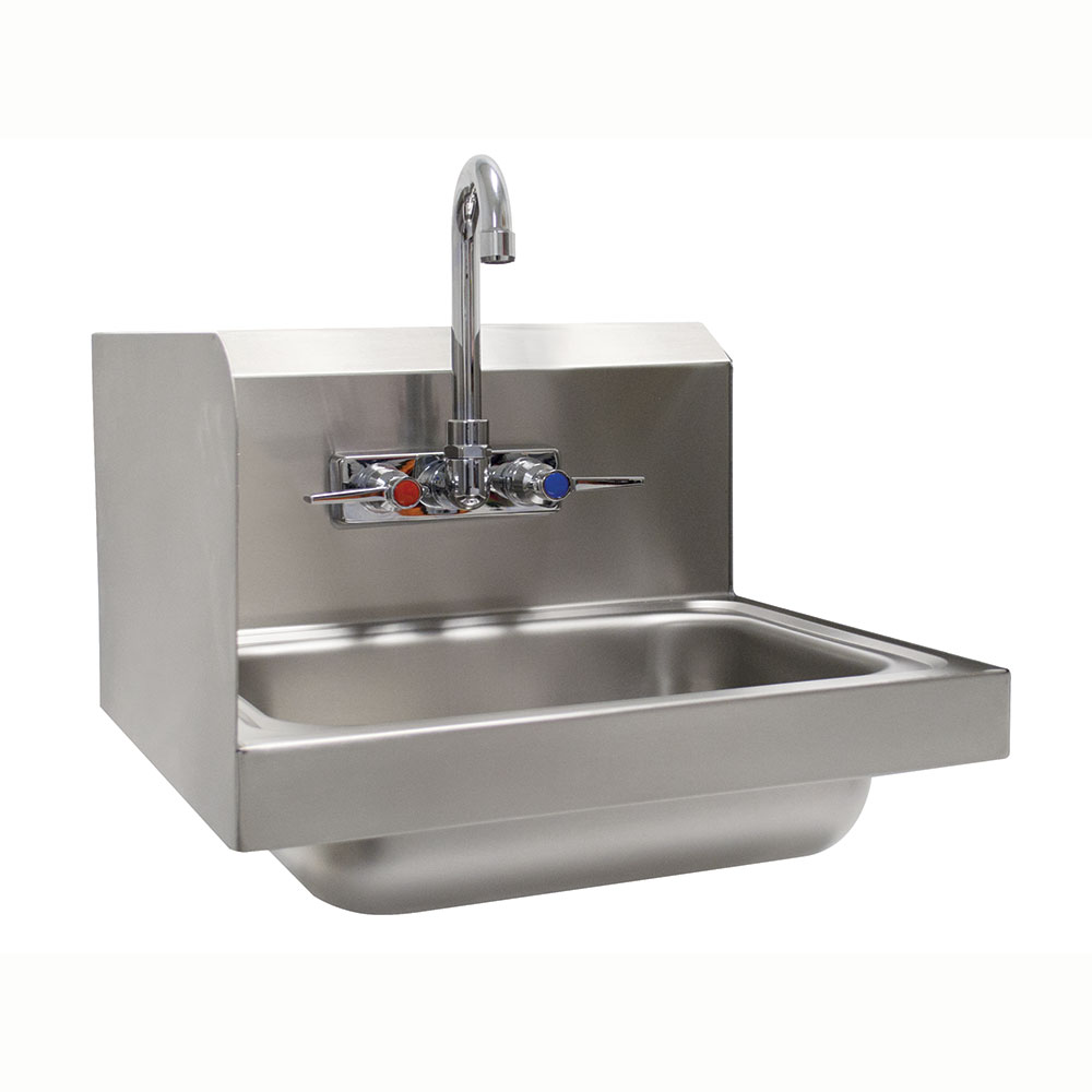 "Advance Tabco 7-PS-66L Wall Mount Commercial Hand Sink w/ 14""L x 10""W x 5""D Bowl, Side Splashes"