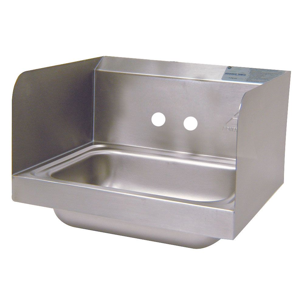 "Advance Tabco 7-PS-66-NF Wall Mount Commercial Hand Sink w/ 14""L x 10""W x 5""D Bowl, Side Splashes"