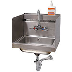 "Advance Tabco 7-PS-76 Wall Mount Commercial Hand Sink w/ 14""L x 10""W x 5""D Bowl, Gooseneck Faucet"