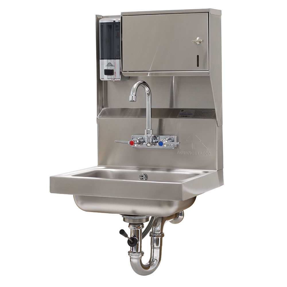 "Advance Tabco 7-PS-80 Wall Mount Commercial Hand Sink w/ 14""L x 10""W x 5""D Bowl, Standard Faucet"