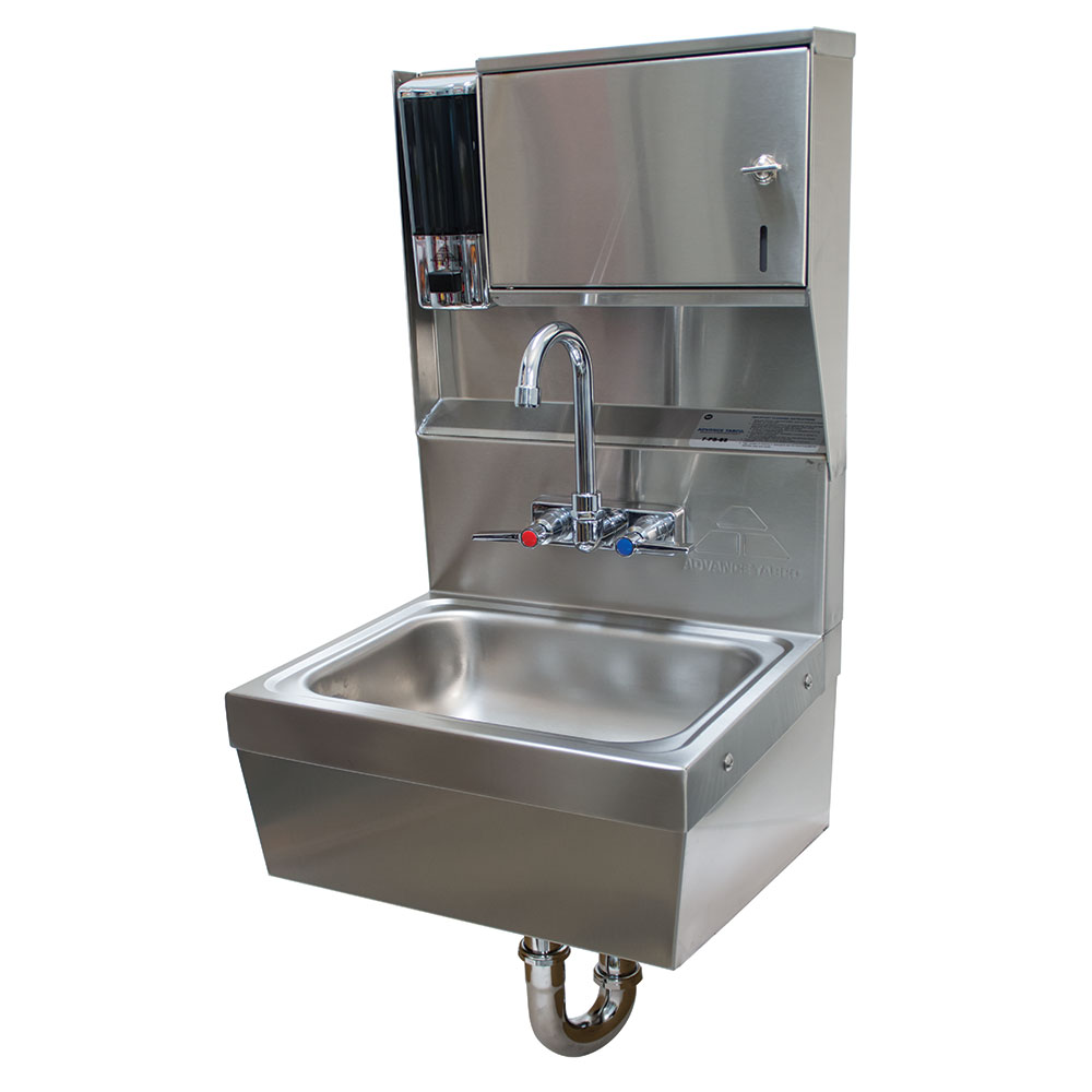 "Advance Tabco 7-PS-85 Wall Hand Sink - 14x10x5"" Bowl, Splash Mount Faucet, Skirt, Basket Drain"