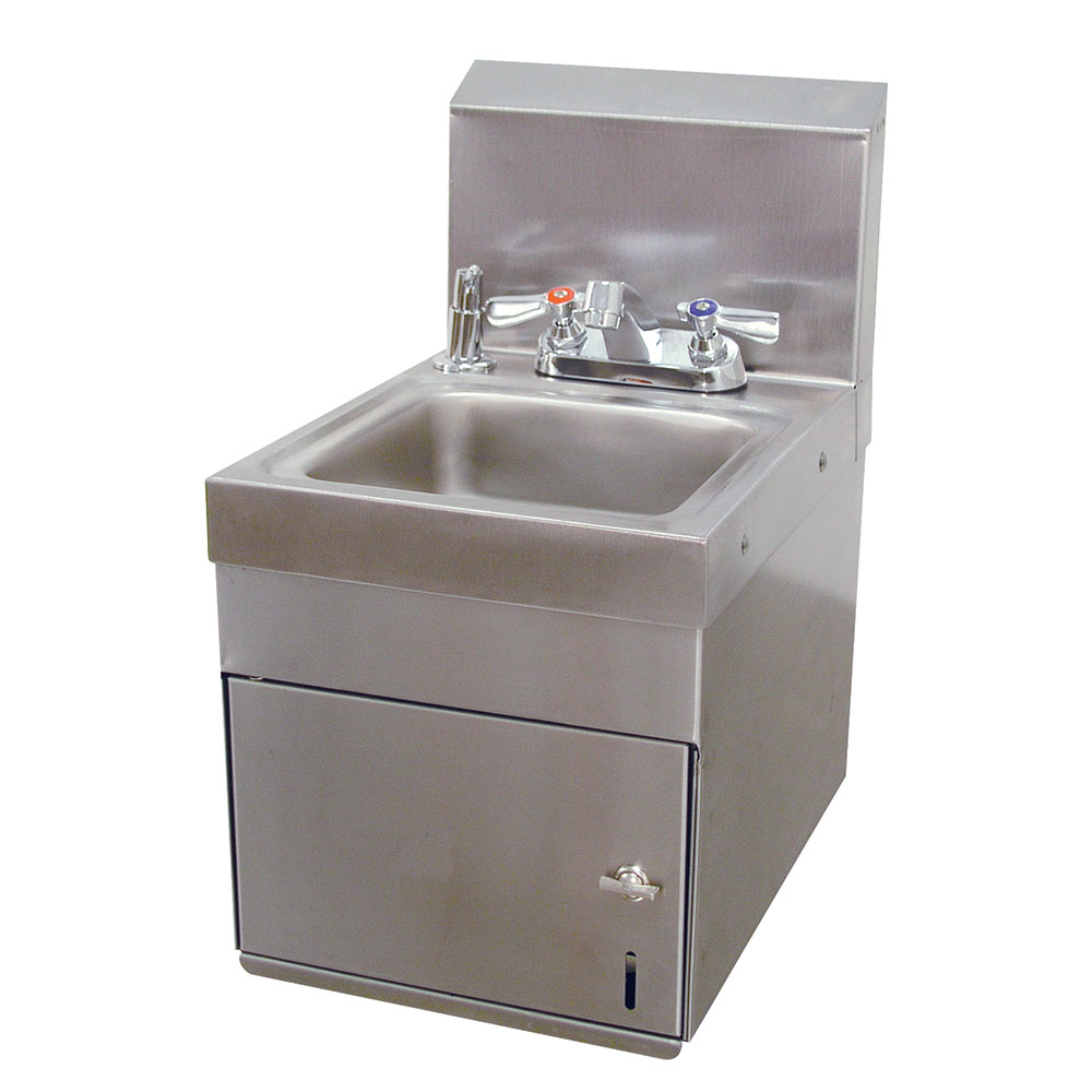 "Advance Tabco 7-PS-88 Wall Mount Commercial Hand Sink w/ 9""L x 9""W x 5""D Bowl, Soap Dispenser"
