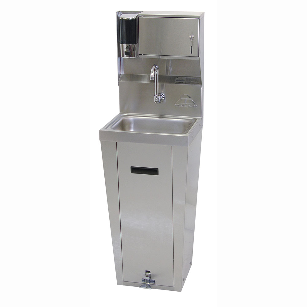 "Advance Tabco 7-PS-95 Pedestal Commercial Hand Sink w/ 14""L x 10""W x 5""D Bowl, Pedal Valve"