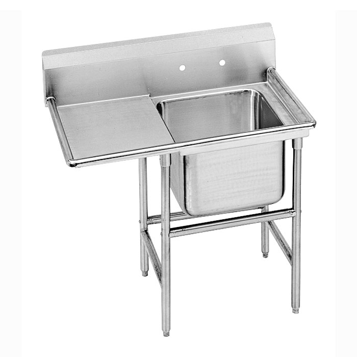 "Advance Tabco 9-1-24-24L 46"" 1-Compartment Sink w/ 16""L x 20""W Bowl, 12"" Deep"