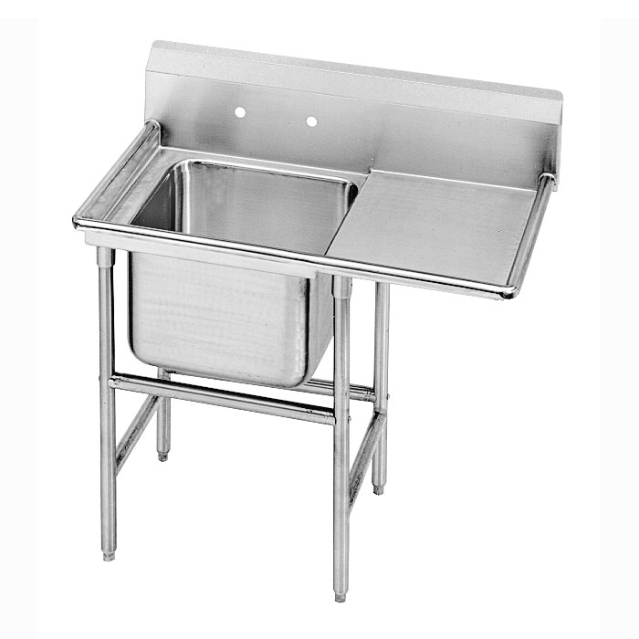 "Advance Tabco 9-1-24-24R 46"" 1-Compartment Sink w/ 16""L x 20""W Bowl, 12"" Deep"
