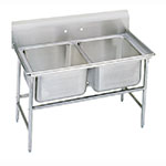 "Advance Tabco 9-22-40 52"" 2-Compartment Sink w/ 20""L x 20""W Bowl, 12"" Deep"
