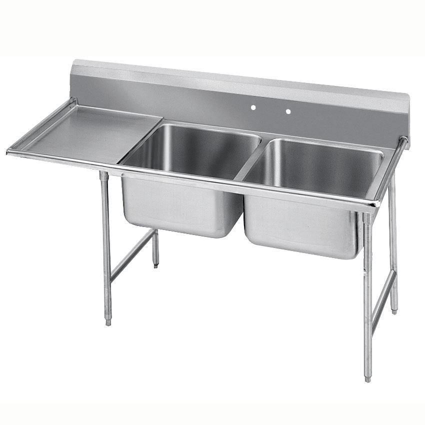 "Advance Tabco 9-22-40-18L 66"" 2-Compartment Sink w/ 20""L x 20""W Bowl, 12"" Deep"