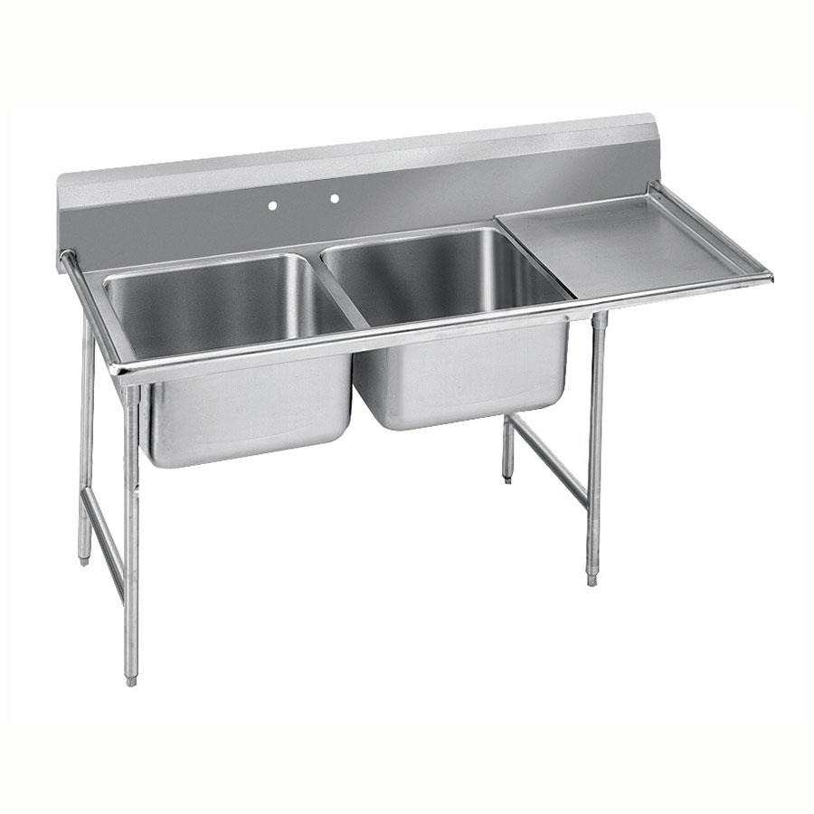 """Advance Tabco 9-22-40-36R 84"""" 2-Compartment Sink w/ 20""""L x 20""""W Bowl, 12"""" Deep"""