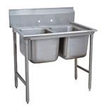 """Advance Tabco 9-2-36 44"""" 2-Compartment Sink w/ 16""""L x 20""""W Bowl, 12"""" Deep"""