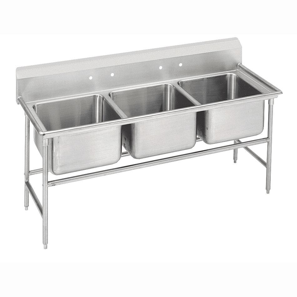 """Advance Tabco 9-23-60 74"""" 3-Compartment Sink w/ 20""""L x 20""""W Bowl, 12"""" Deep"""