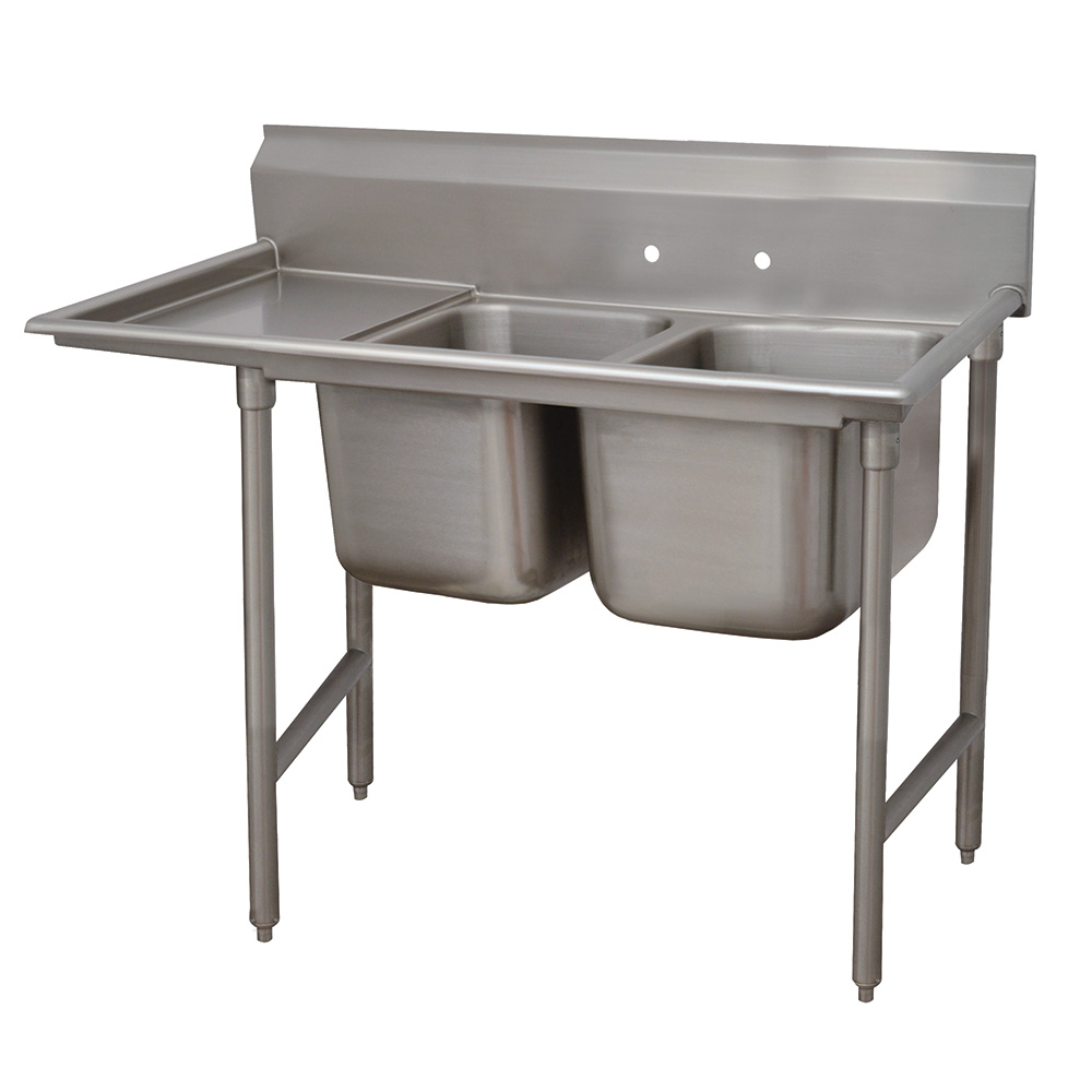 "Advance Tabco 9-2-36-18L 58"" 2-Compartment Sink w/ 16""L x 20""W Bowl, 12"" Deep"