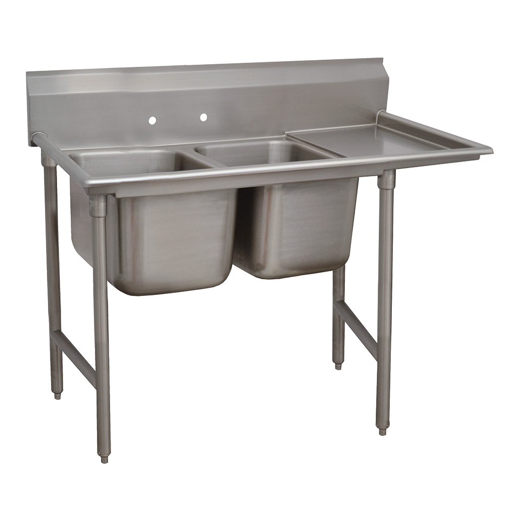 "Advance Tabco 9-2-36-18R 58"" 2-Compartment Sink w/ 16""L x 20""W Bowl, 12"" Deep"