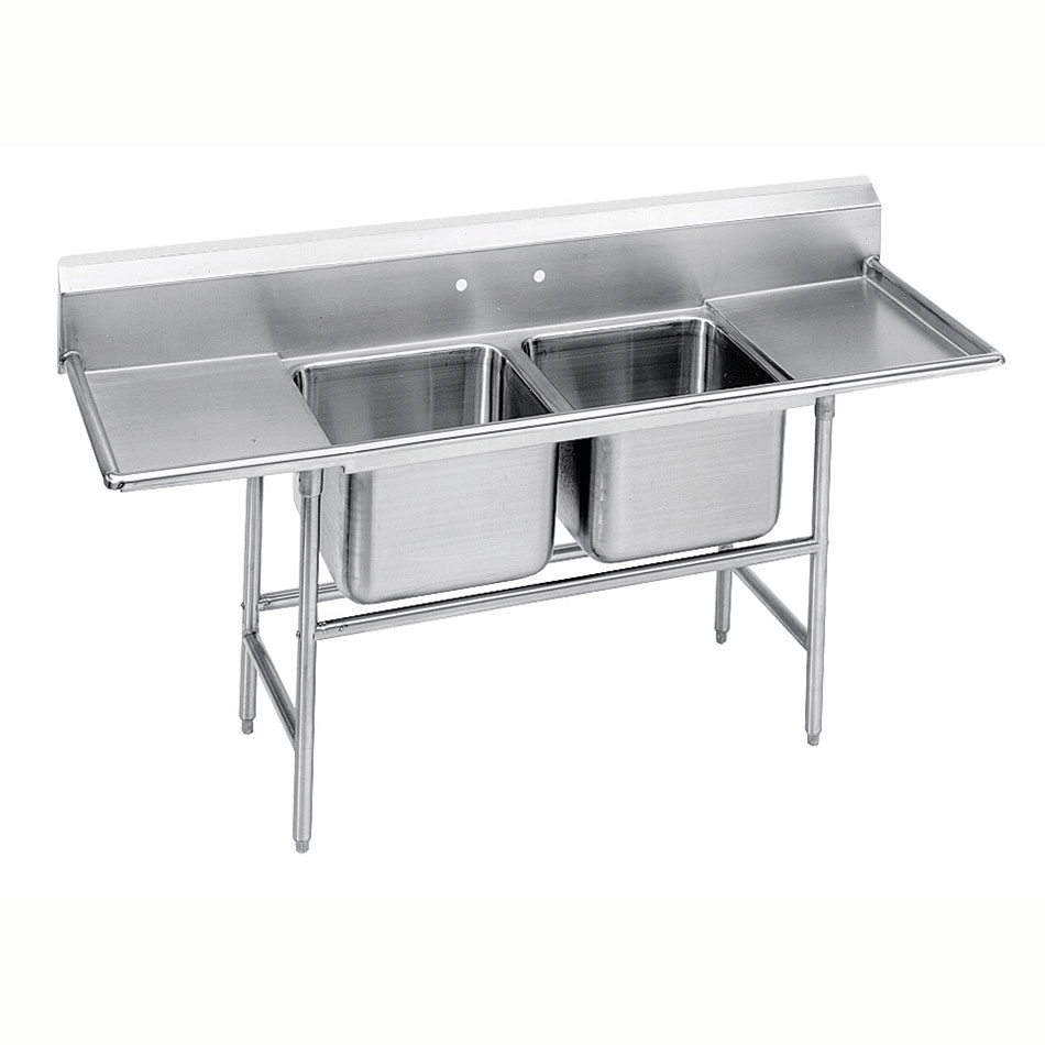 "Advance Tabco 9-2-36-36RL 109"" 2-Compartment Sink w/ 16""L x 20""W Bowl, 12"" Deep"