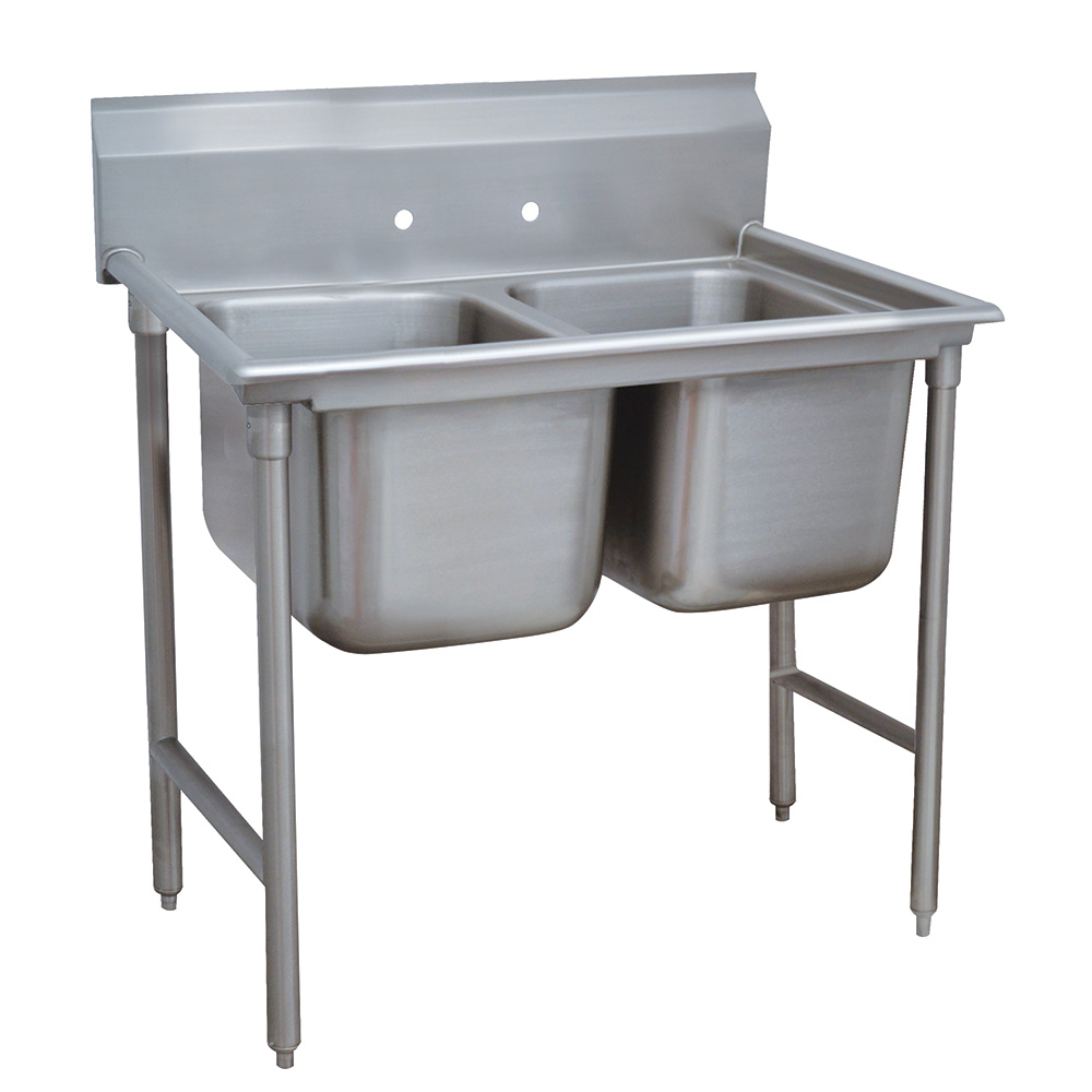 "Advance Tabco 9-2-36 44"" 2-Compartment Sink w/ 16""L x 20""W Bowl, 12"" Deep"