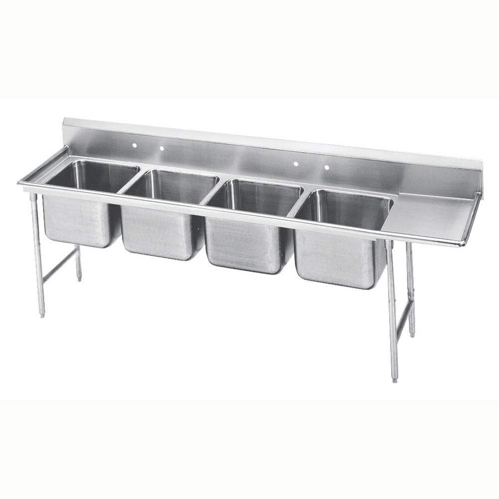 """Advance Tabco 9-24-80-18R 111"""" 4-Compartment Sink w/ 20""""L x 20""""W Bowl, 12"""" Deep"""