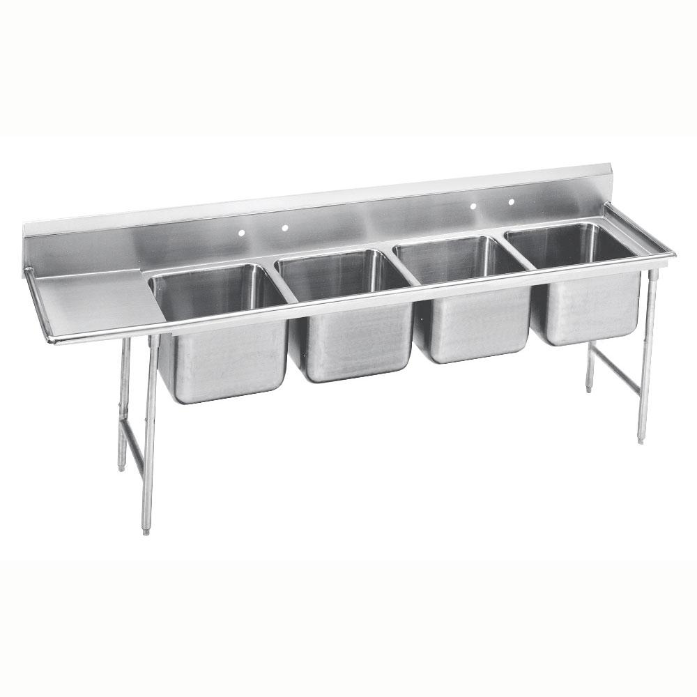 """Advance Tabco 9-24-80-36L 129"""" 4-Compartment Sink w/ 20""""L x 20""""W Bowl, 12"""" Deep"""
